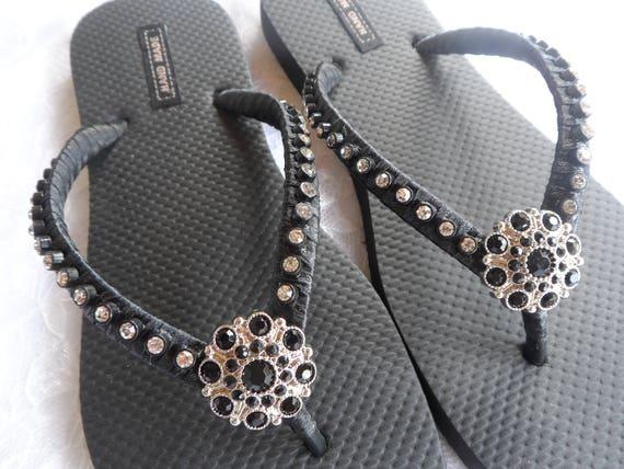 Flops Flops Flip Flops Bridesmaids Summer Flip Beach Beach Rhinestones Flip Flops Flip Black Sandals Colors X8ZZq