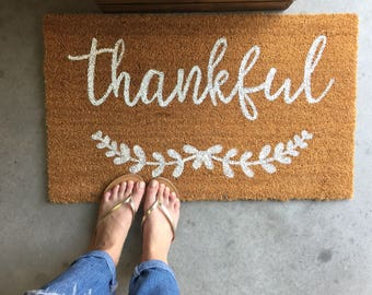 Thankful Doormat Fall Doormat Custom Welcome Mat Autumn Doormat Personalized Doormat Fall Decorations Fall Home Decor Fall Gather