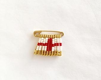 St. George  Beaded Flag Pin Handmade  Birthday Gift  Lapel Pin Brooch  Hat Pin Beaded Flag Pattern