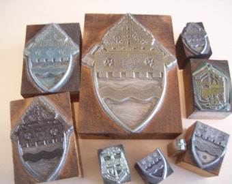 REDUCED PRICE Shields and crest vintage letterpress print blocks