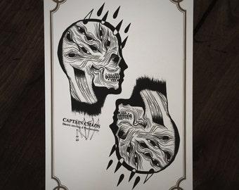 LIMITED Dark Rain Skull - Tattoo print 50/50 signed