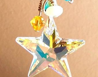 Swarovski Crystal Star Aurora Borealis Pendant - Turquoise and Yellow crystals