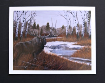 """Wildlife Print, Moose, """"October Chill"""" By Terrie Owens"""
