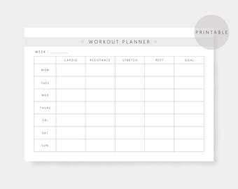 Weekly Workout Planner, Fitness planner, A4, US Letter, Printable, Health Tracker, Planner, Grey , Instant Download, PDF, Minimalist