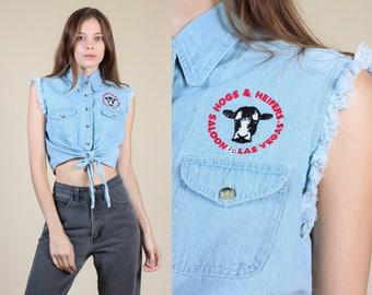 Vintage Hogs & Heifers Denim Crop Top   90s Jean Tie Front Button Up Shirt - Small