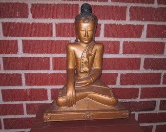 Antique Beautiful Large Carved Wood Buddha Statue from Wartime Pillage