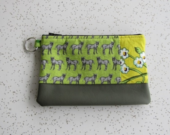 SALE!! Small Key Ring Wallet - Zebra wallet