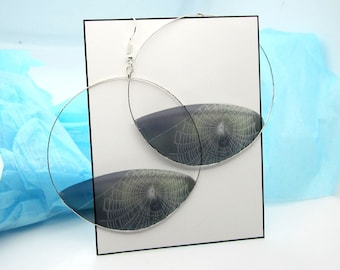Spider Web Earrings, Drop, Dangle or Hoop, Wet and Dewy, Transparent Resin, Nature Photography Gift