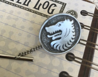Steampunk Tie Tac, Men's Gifts, Wolf Tie Tac, Jewelry, Groomsmen Gift, Man, Midieval Wolf, Gothic, Father's Day Gifts