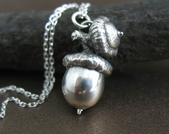 Large Sterling Silver Acorn Necklace, Botanical Jewelry, Acorn Necklace