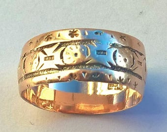Vintage 9ct Gold Patterned Wedding Band Ring, Hand Engraved, Wedding, Circa 1900