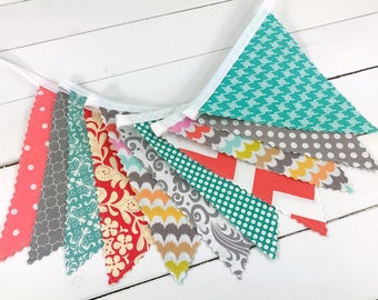 Baby Girl Nursery Decor Fabric Bunting Fabric Banner Nursery Banner Nursery Bunting Turquoise Gray Coral