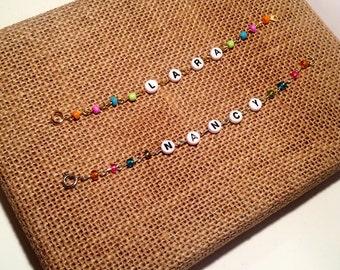 Pastel Rainbow Beaded Name Bracelet