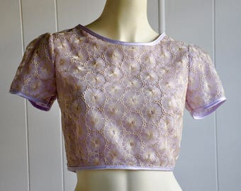 Genie Sunburst Lavender and Gold Embroidered Crop Top with Zippered Back, Size Small