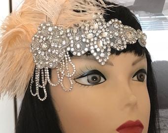 Gatsby headpiece/1020s headpiece/Flapper headpiece/Wedding headpiece/Rhinestone headpiece/hair accessories/hair jewelry/Anella