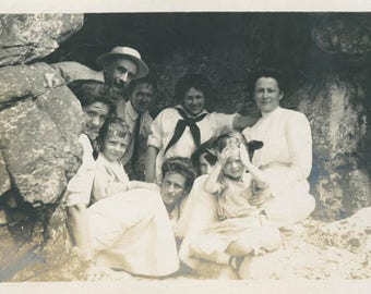 Vintage Photo 1920 Cave Dwellers Family Huddles in Beach Cave