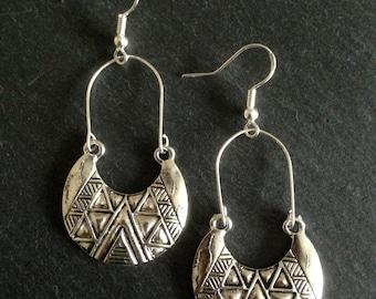 Boho Earrings,  Ethnic earrings, Bohemian earrings, Tribal earrings, Aztec earrings, Silver dangle earrings, Gypsy earrings