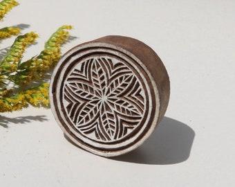 Indian batik wood,, print stamp, round block print