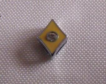bead loop with a rhinestone 11mmx8mm yellow diamond