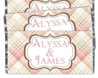 Emballages de bonbons mariage, rose et brun mariée douche Candy Wrappers - fit plus 1,55 oz chocolat barres - sur mesure pour vous, vos couleurs, thème