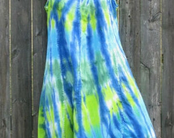 Ocean or Rainbow Tie-Dye Rayon Short Tank Dress