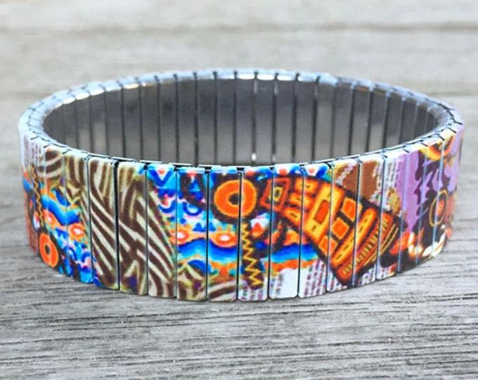 Kokopelli-Southwestern-Native American-Stretch bracelet-Wrist Art-Sublimation-Stainless Steel-bracelet-gift for friends