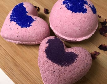 Heart Shaped Bath Bombs, Set of 3 Bath Bombs, Valentine's Day Bath Bomb Gift, Luxury Bath Bombs, Foaming Bath Bomb, Fizzing Bath Bomb
