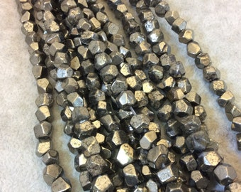 """6mm Faceted Nugget/Chunk Shape Natural Metallic Pyrite Beads with 1mm Holes - 15.5"""" Strand (Approx. 65 Beads) - Semi-Precious Gemstone Beads"""