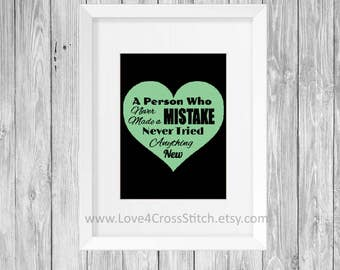 Love Quote Cross Stitch Pattern Modern, Wisdom Quote Cross Stitch, PDF Pattern, Cross Stitch Heart, Green Cross Stitch, Mistake Quote