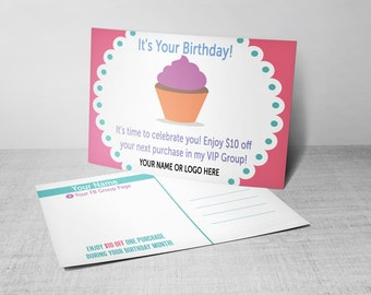 Customer Birthday PostCard - Birthday Discount | Birthday Club | Hostess Birthday - Cupcake - HO Colors/Fonts - Branding Guide Compliant