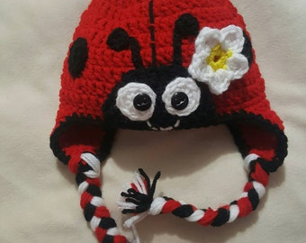 Crocheted Lady bug hat
