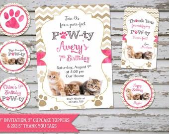 Kittens Birthday Invitation, Cat Birthday Invitation, Kitten Party Cute Kittens, Pawty Invitation, Kittens toppers, Kittens favor tags, DIY