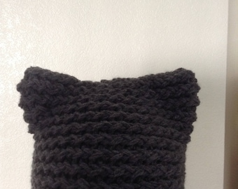 womens knitted grey cat hat