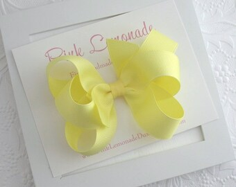 Large 4.5 inch Yellow Boutique Hair Bow Clip, Toddlers, Big Girls, Little Girls