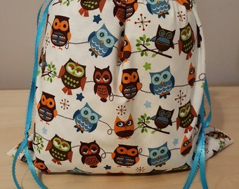 Owl drawstring project bag crochet knitting embroidery gifts sewing yarn