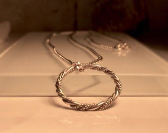 Silver Circle Necklace./Handmade Silver Infinity Necklace./Free Shipping in the US.