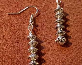 SALE  Layered Disc Earrings Silver Tone  Celtic Renaissance Medieval Fantasy Viking