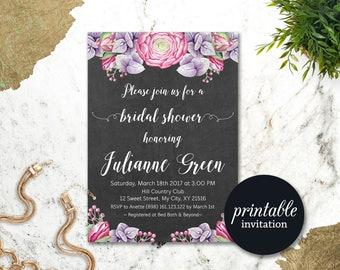 Purple Floral Bridal Shower Invitation Pink Bridal Shower Invites, Chalkboard Boho Bridal Invitation Printable Wedding shower invitation