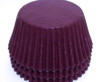 Burgundy Cupcake Liners w Slight Hombre Stripe- Choose Set of 50 or 100