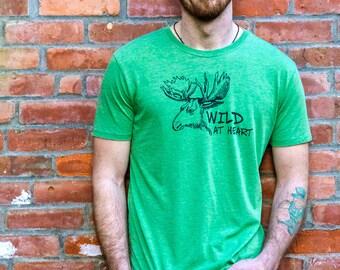 Camping Gift for Men, Camping Shirt, Nature Shirt, Adventure Shirt, Hiking Shirt, Moose Shirt, Wild at Heart