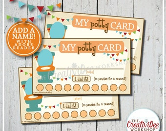 Potty Training Punch Cards | Editable Punch Cards | Orange | Potty Cards | Toilet Training | Punch Cards | Potty Training | Instant Download