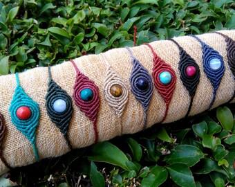 Boho macrame bracelet with gemstone, beaded bracelet, macrame stone, hippie bracelet, gemstone bracelet, boho jewelry, yoga bracelet