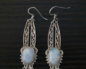 ON SALE Unique RAINBOW Moonstone Silver Earrings