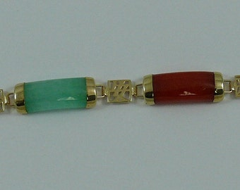 Multi-Color Jade Bracelet 14k Yellow Gold 7 Inches