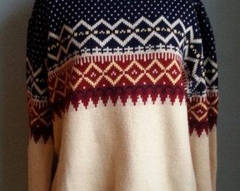 vintage nordic fair isle acrylic pullover sweater