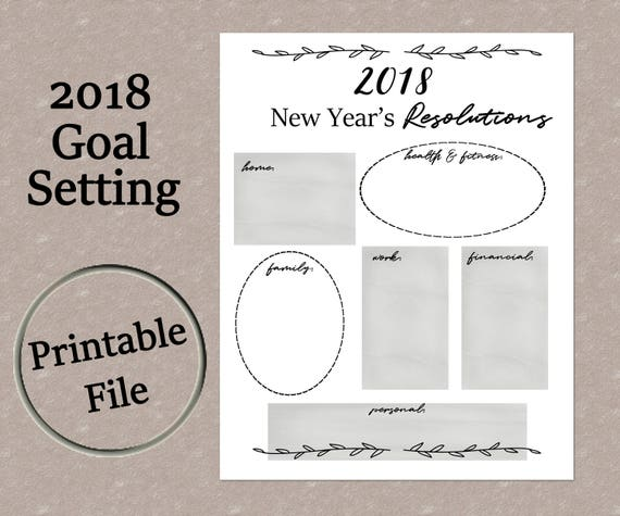 New Year\'s Resolutions Printable 2018 New Year\'s