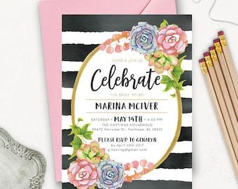 Succulent Bridal Shower Invitation Printable / Floral Printable Bridal Shower Invitation / Succulent Wedding Invitation