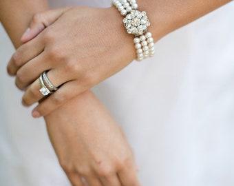swarovski crystal pearl bracelet Bridal Bracelet Rhinestone Bracelet pearl and rhinestone Wedding bracelet vintage style bridal cuff NATALEE
