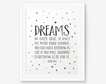 Peter Pan Nursery Art, Dreams Do Come True, Nursery Wall Art, Children Decor
