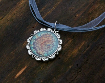 Flower Pendant | Blue & Orange Pebeo Paint | Hand Painted